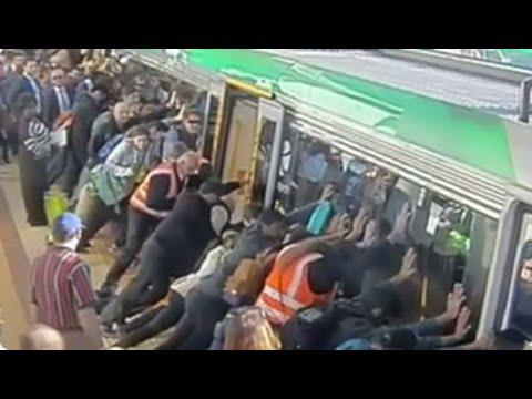 Riders Come Together To Free A Mans Leg From Under A Train!