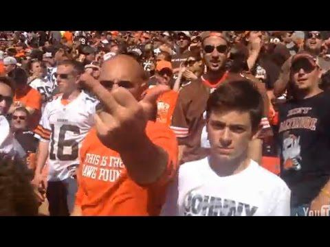 """Ravens Fan Celebrates A Touchdown In The Browns """"Dawg Pound"""" Section"""