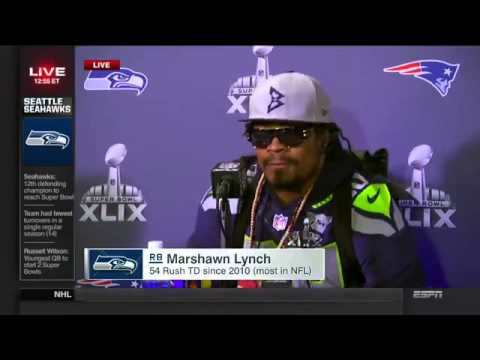 Marshawn Lynch Lectures The Media For The Final Time Before The Super Bowl