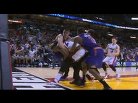 Miami Heat's Hassan Whiteside Tackles Alex Len