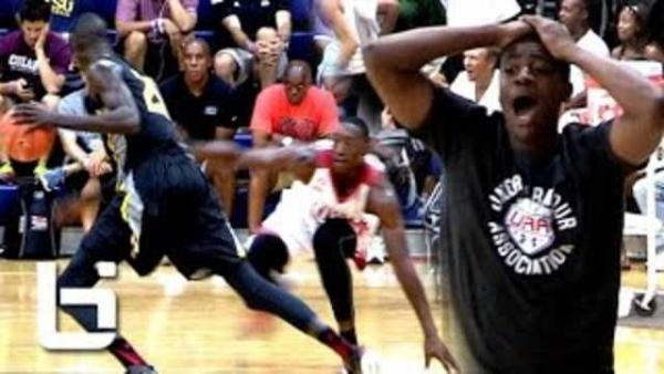 "7'1 Basketball Prospect ""Thon Maker"" Crosses A Defender & Knocks Down The Jumper"