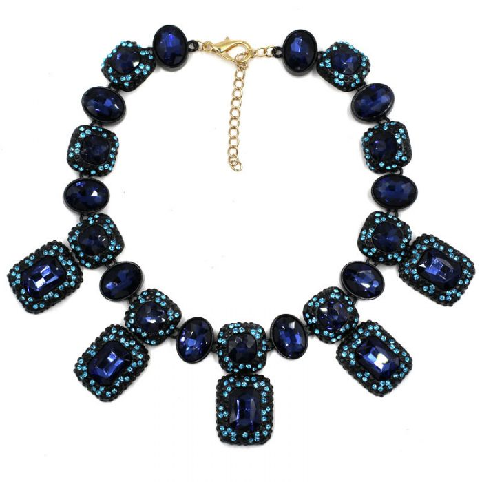 starlight_blue_crystal_regtangle_stones_encrusted_pendant_statement_necklace_black_paint