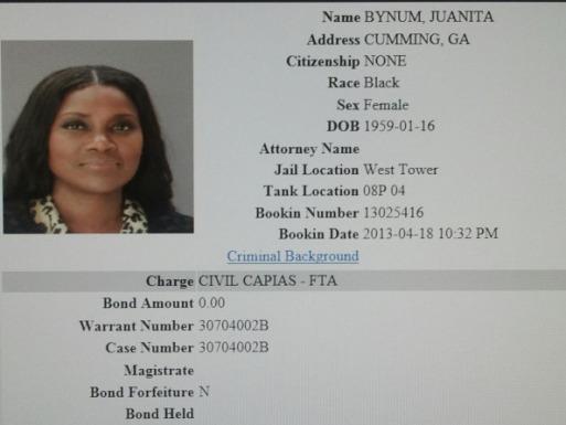 Juanita Bynum mug shot