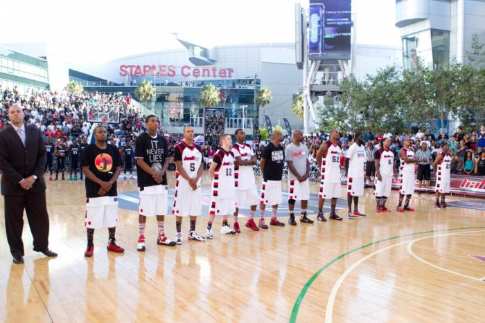 "Harden and Arenas coach Team LA against ""Ball Up"" Team at LA Live"