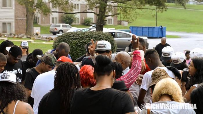 J. Cole Visits The Mike Brown Memorial In Ferguson