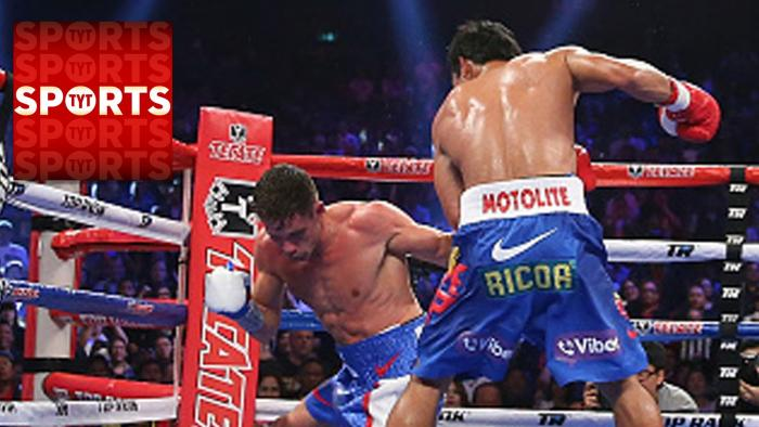 Manny Pacquiao Knocks Down Chris Algieri