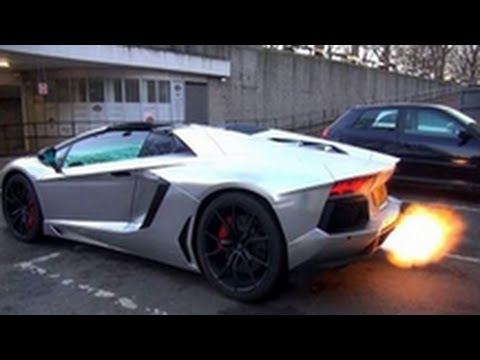 Satin Chrome Lamborghini Aventador Roadster (Shooting Flames Out The Exhaust)
