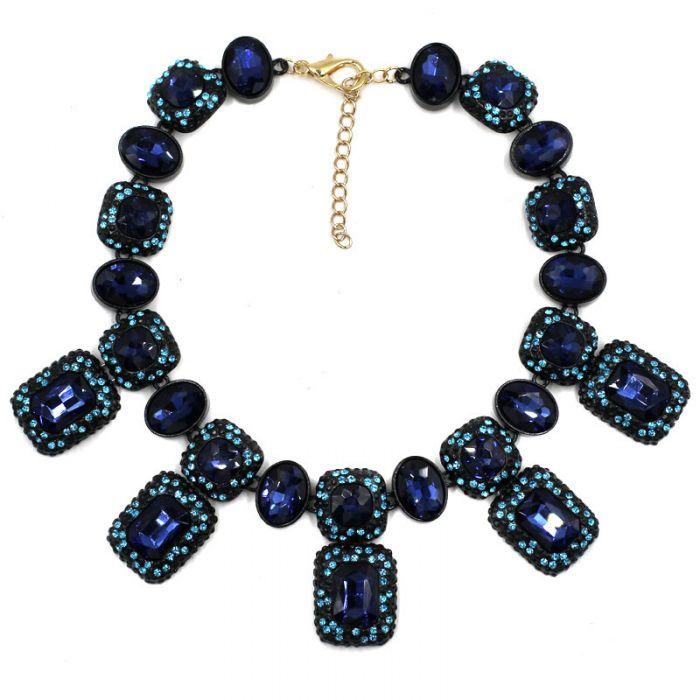 starlight_blue_crystal_regtangle_stones_encrusted_pendant_statement_necklace_black_paint