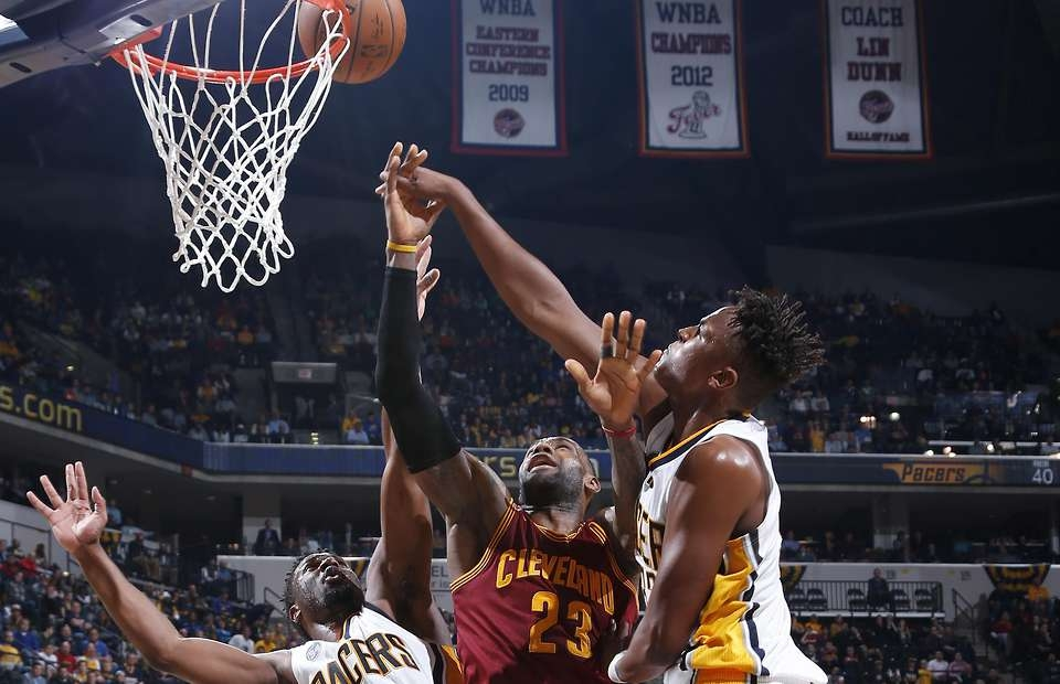 Myles Turner Does A Monster Block On Lebron James